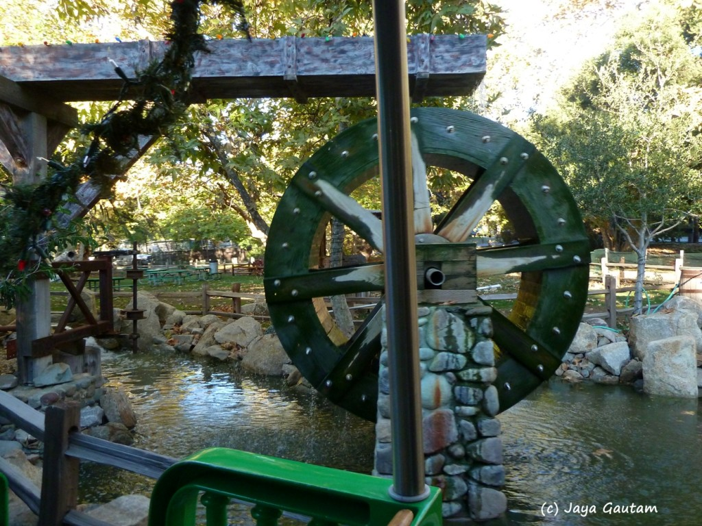 View of the water wheel from the train